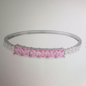 PINK AND WHITE CZ BANGLE 7.25 inch